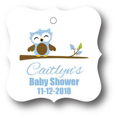 24 Blue Baby Boy Owl Personalized With Name Baby Shower Favor Tag - Owl Boy Baby Shower