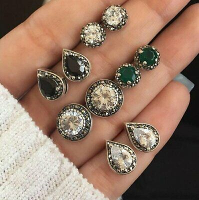 5 Pairs/Set Stud Earrings Cubic Zirconia Waterdrop Green Black Gem Women Jewelry