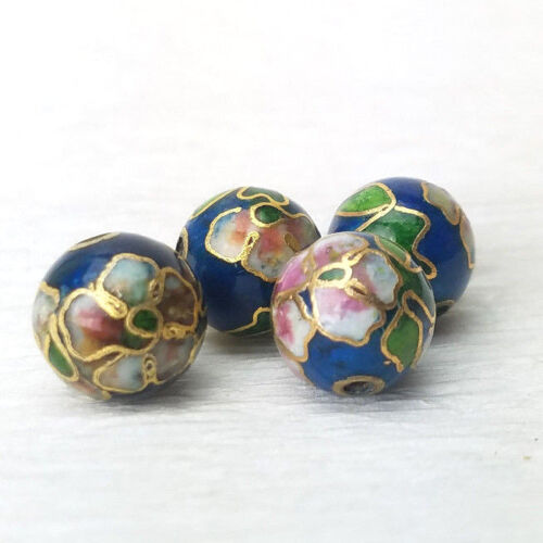 Vintage Teal Blue w/ Pink Blue Flowers Cloisonne Chinese Enamel Round 10mm 4PCs