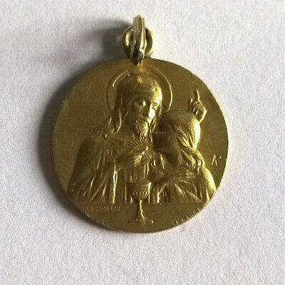 Medal Pendant Antique Communion Plated Gold Lasserre
