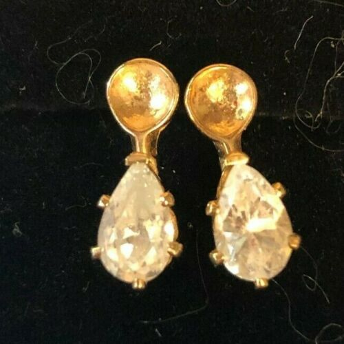 Vintage Gold Plated Pear Shape  Cubic  Zirconia  Earring Set
