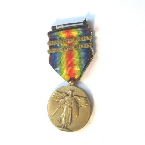 WW1 Victory Medal Meuse-Argonne & Defensive Sector Bars Very Nice