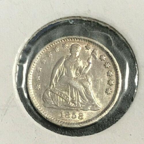 1858 Seated Liberty Half Dime AU
