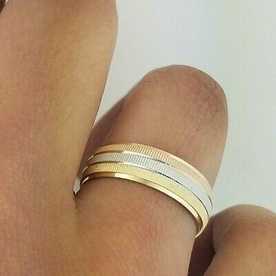 14k Solid Gold Tri Color Men's Wedding Band Ring 6 MM Yellow White Rose -