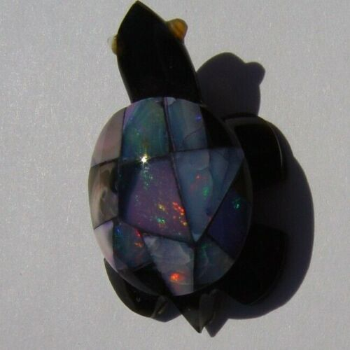 FIRE OPAL INLAY ON OBSIDIAN TURTLE 26.05cts. HAND CARVED FROM MEXICO #20008