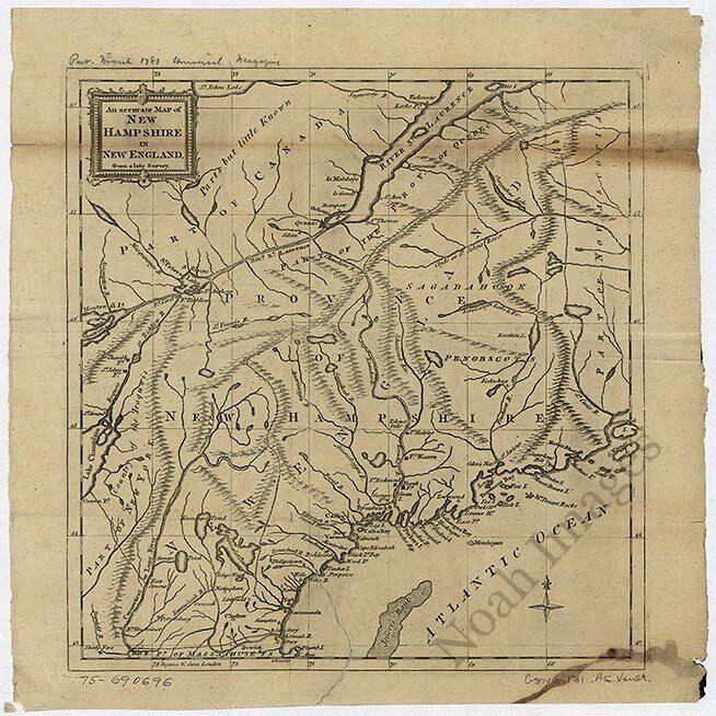 Map of New Hampshire c1781 repro 16x16