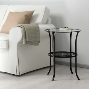 Side table, black, clear glass