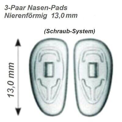 3 Paar (6 Stück) Nasenpads / Brillenpads-Silikon Schraubsystem, Nierenform 13mm gebraucht kaufen  Grafrath