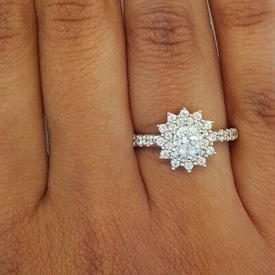 1.75 Ct Round Cut Diamond Flower Fashion Cocktail Engagement Ring 14K White (Gold Round Cut Flower)