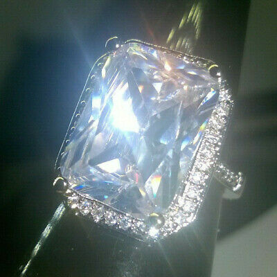 STATEMENT LARGE EMERALD CUT CREATED WHITE SAPPHIRE SOLITAIRE RING SIZE  O