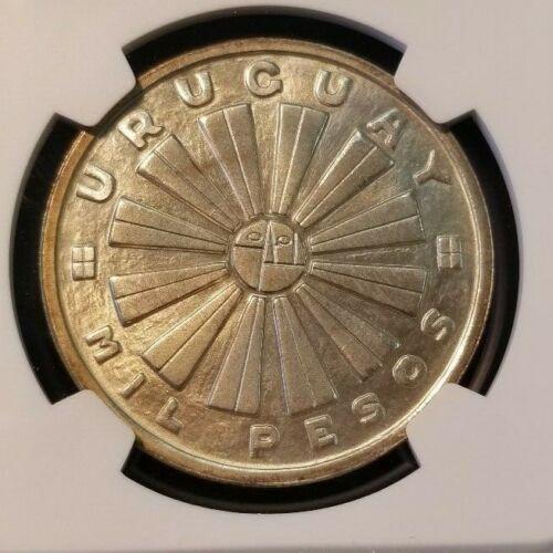 1969 URUGUAY SILVER 1000 PESOS 1000P FAO NGC MS 65 HIGH GRADE GEM BU COIN