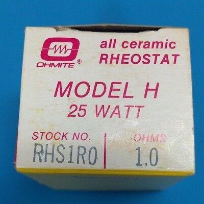 Ohmite Rhs1r0 Model H Ceramic Rheostat 25w 1.0 Ohm