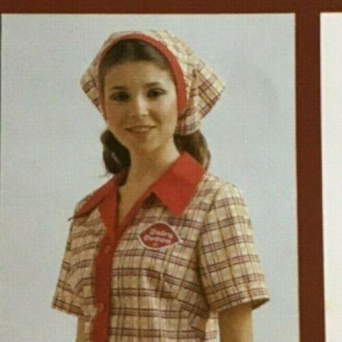 Vintage Dairy Queen Uniform Head Scarf 1979-80 Tattersall n Red Employee Line