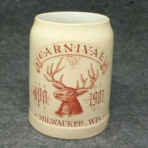 1901 CARNIVAL BPO Elks Fraternal Adv. Pre Prohibition Beer Mug Milwaukee WIS