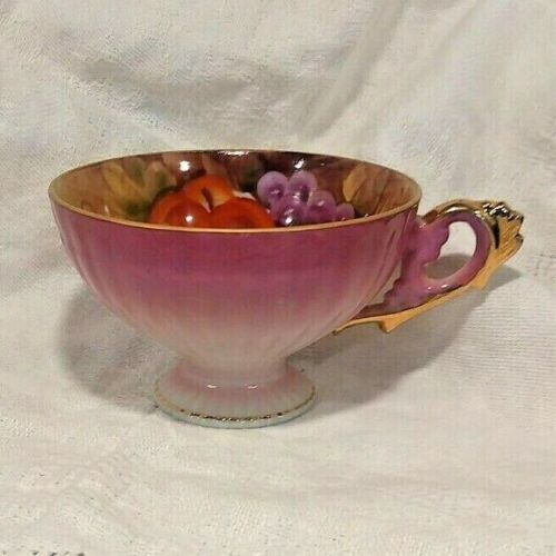 Vintage LEFTON Tea Cup Hand Painted Harvest Fruit Pattern Gold Accents Footed