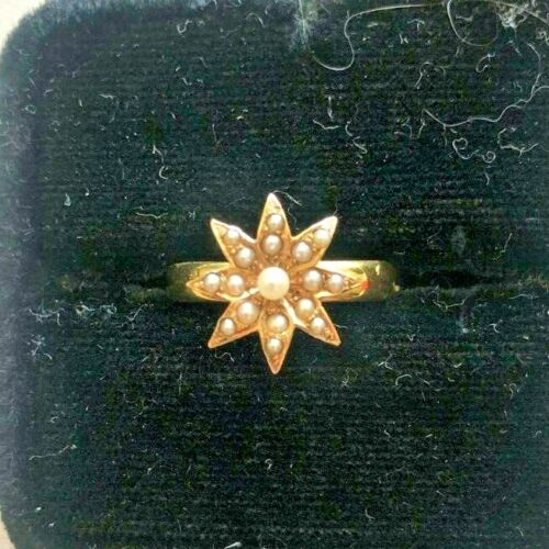 VICTORIAN SEED PEARL STAR 18K GOLD RING