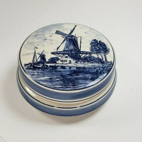 Vintage Blue Delft Handpainted Windmill Dish with Lid Made in Holland Bowl Box