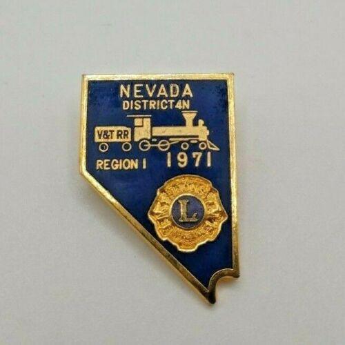 1971 Lions Club Region I Nevada District 4N V&T RR Railroad Train Lapel Pin