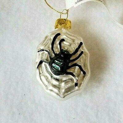 Hallmark Halloween Blown Glass Spider in Web Ornament 2002 Feather weight, NEW
