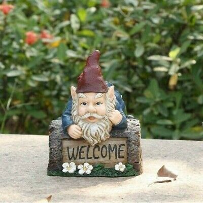 Gnome Crawling Over Tree Trunk Figurine -Life Like Figurine Statue Home / Garden
