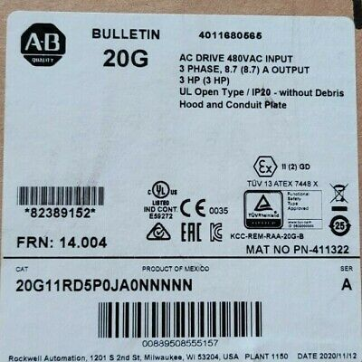 Allen Bradley Powerflex 755 20g11rd5p0ja0nnnnn Hp Ac Drive New In Box