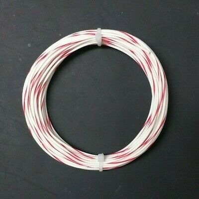 22 Awg Whtred Mil-spec Wire 600v Ptfe Stranded Silver Plated Copper 20 Ft