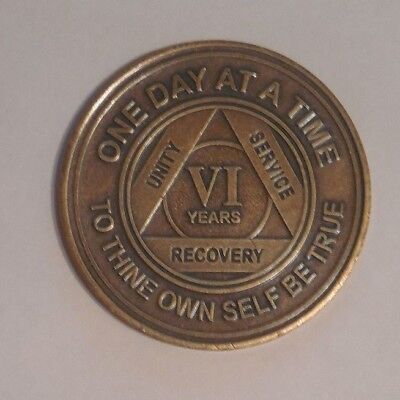 aa bronze alcoholics anonymous 6 year sobriety chip coin token medallion for sale  Philadelphia