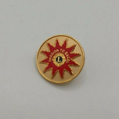 TEJ Lions Club Passion to Excel Round Gold & Red Lapel Pin