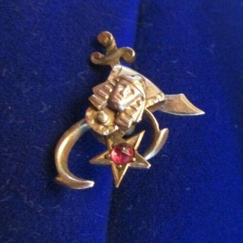 10K YELLOW GOLD SHRINER MASONIC RUBYGEMSTONE 1.0 GRAMS SCREWBACK PIN  scrap not
