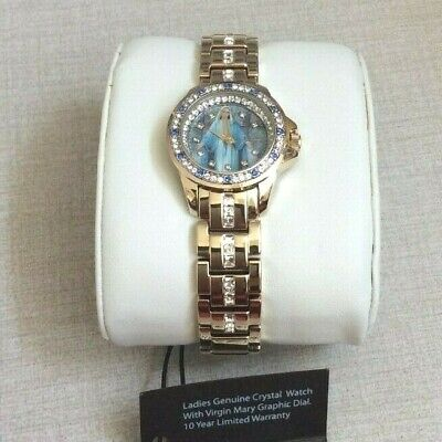 Elgin Women's Watch Crystal Round Guadalupe Virgen Mary Dial Gold Linked Band!