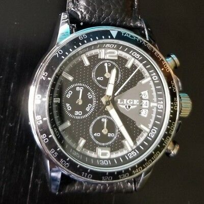 LIGE Men Chronograph Watch Luxury Quartz silver leather band Water resistant