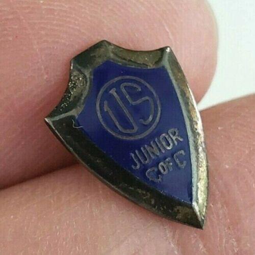 Vintage US Junior C of C Chamber of Commerce Pin Screw Jaycees Shield Enamel