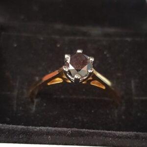 1 Ct Black Diamond Solitaire 18 Carat Yellow Gold Ring Size U