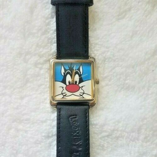 Looney Tunes Watch Sylvester The Cat Black Leather Band New Battery Tweety