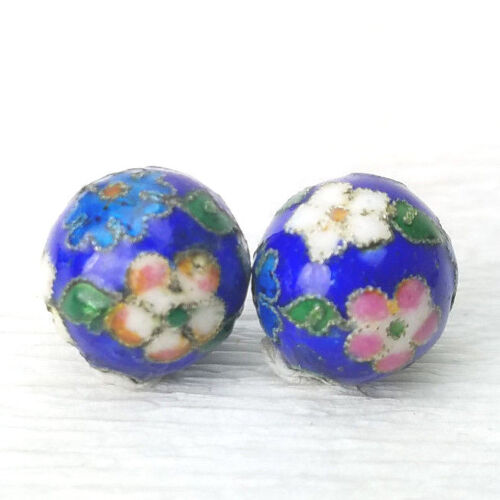 2 Antique Blue Mixed Color Flowers Cloisonne Chinese Enamel 12mm 2 Beads