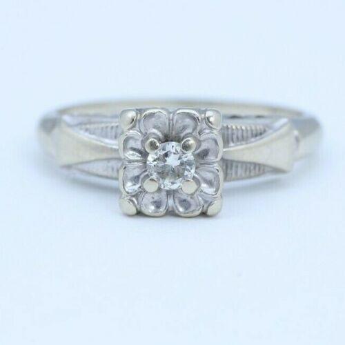 Antique Art Deco Euro Cut Diamond Engagement Ring 14K  White Gold size 3.75