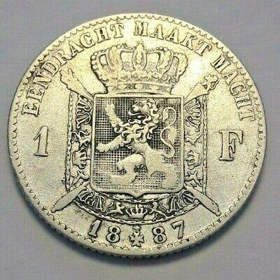 ===>>> 1 Franc 1887 1 Frank Leopold II Belgique Belgïe FR NL KM# 29 <<<===