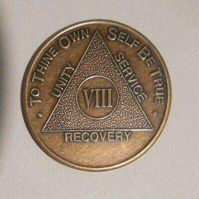 aa alcoholics anonymous bronze 8 year recovery sobriety  coin token medallion for sale  Philadelphia