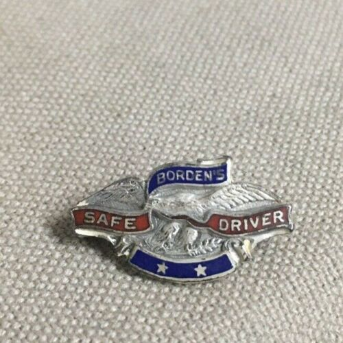 OLD BORDENS SAFE DRIVER PATRIOTIC EAGLE COLORED ENAMEL & STERLING SILVER PIN