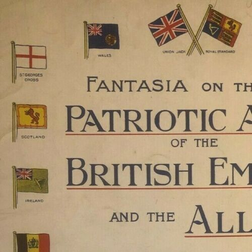 """Vintage WWI Sheet Music """"Patriotic Airs of the British Empire - and the Allies"""""""