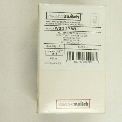 Sensorswitch Wsd 2p Wh Motion Detector Switch 2 Pole 120277v White 184chn New