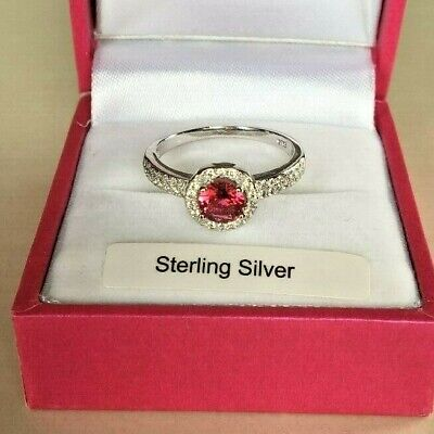 Sterling Silver Cluster Engagement style Ring created Ruby & Diamonds Size M, O