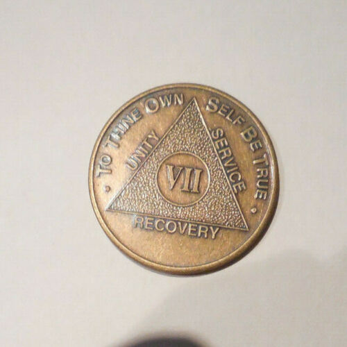 aa alcoholics anonymous bronze 7 year recovery sobriety  coin token medallion