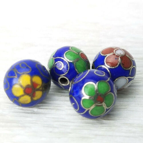 Vintage Dk Blue Mixed Color Flowers Cloisonne Chinese Enamel 10mm 4 Beads
