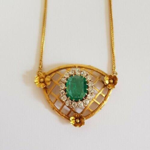 Art Nouveau Emerald And Diamond Necklace