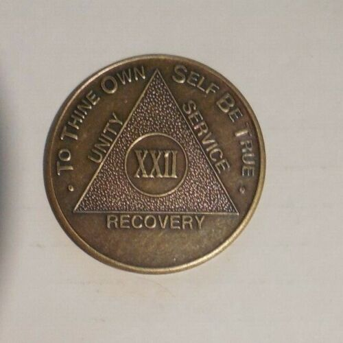 aa 22 year new alcoholic anonymous bronze recovery sobriety coin token medallion