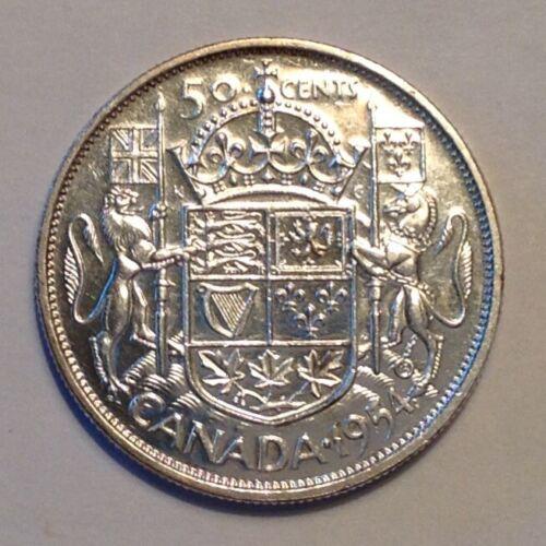1954 Canada Elizabeth II 50 Cents AU Almost Uncirculated