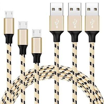 3x2m Micro USB schnell Ladekabel Kabel Nylon für Samsung S6 S7 Huawei NEU gold
