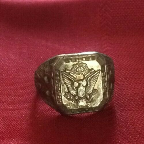Vintage Sterling Silver US Army Eagle ring s.-11.5    53
