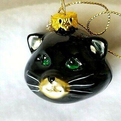 Hallmark Halloween Blown Glass Black Cat Ornament 2002 Feather weight, NEW